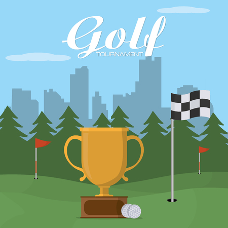 Golf tournament trophy cup vector illustration graphic design Vectores