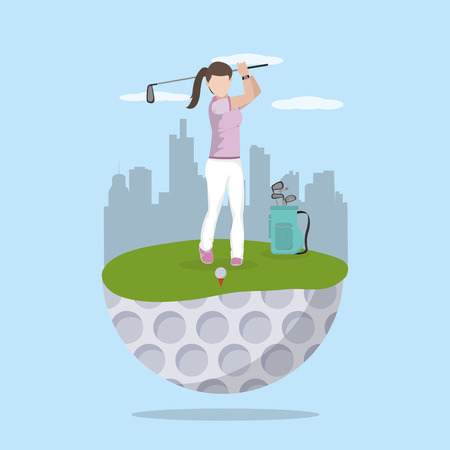 Golf woman player cartoon at camp vector illustration graphic design