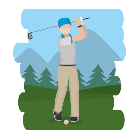 Golf male player at camp vector illustration graphic design Vectores