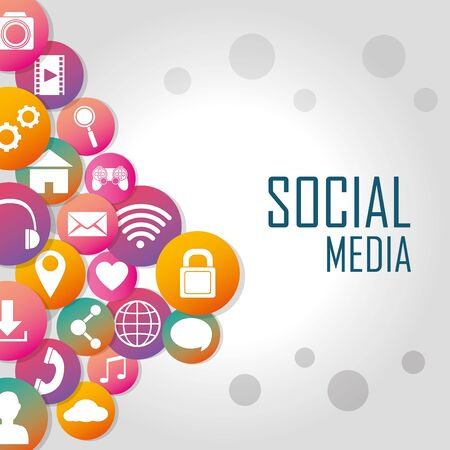 Social media technology symbols vector illustration graphic design