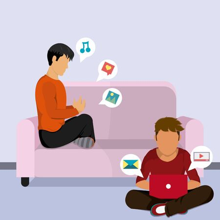 Young mens at home navigating on internet with laptop and smartphone vector illustration graphic design