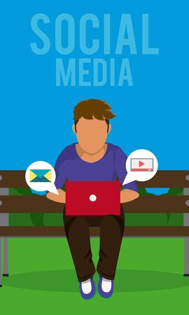 Young man seated at park with laptop checking social media vector illustration graphic design