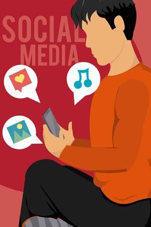 Young man using smartphone for social media vector illustration graphic design Illustration