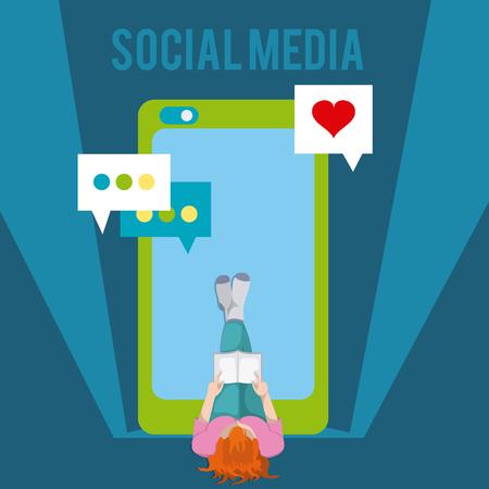 Smartphone and social media vector illustration