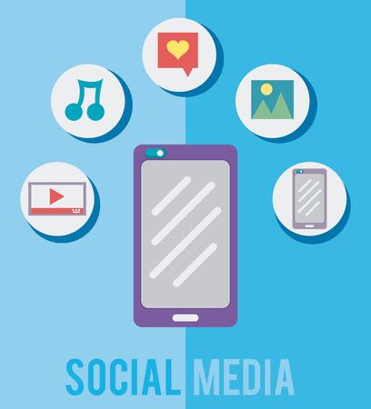 Smartphone with social media symbols vector illustration graphic design Иллюстрация