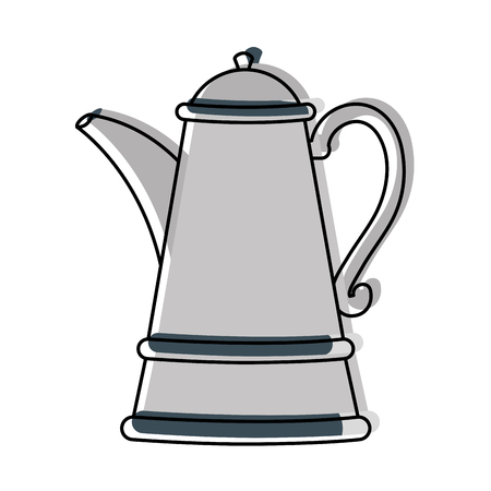 Moved color herbal aromatic teapot metallic object vector illustration