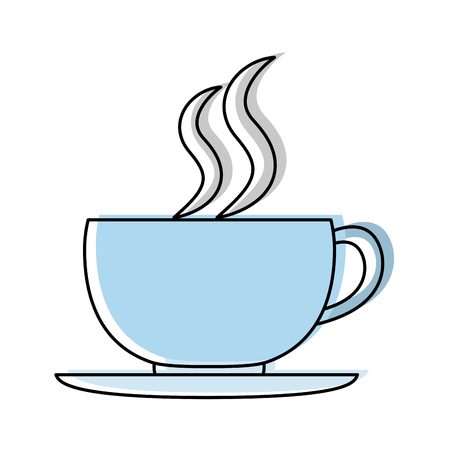 Déplacé couleur tasse de café chaud boisson fraîche illustration vectorielle