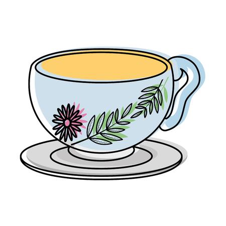 Moved color healthy hot tea cup beverage vector illustration