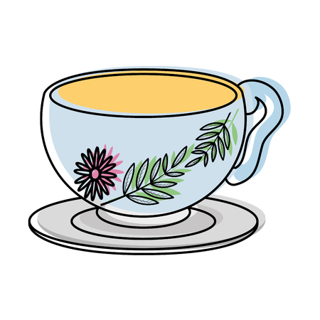 Moved color healthy hot tea cup beverage vector illustration