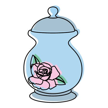 Moved color porcelain container with sweet sugar ingredient vector illustration