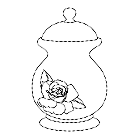 Dotted shape porcelain container with sweet sugar ingredient vector illustration Vectores