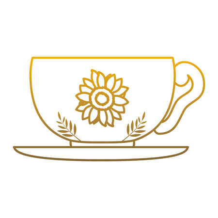 degraded line hot tea cup healthy beverage vector illustration