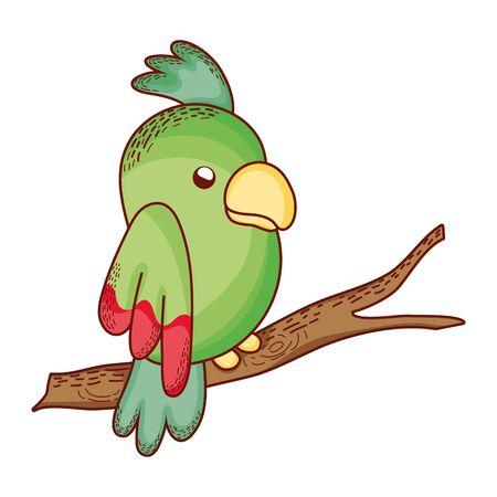 beauty parrot bird animal in the branch vector illustration Illustration