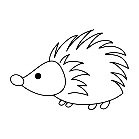 line porcupine cute wild animal character vector illustration