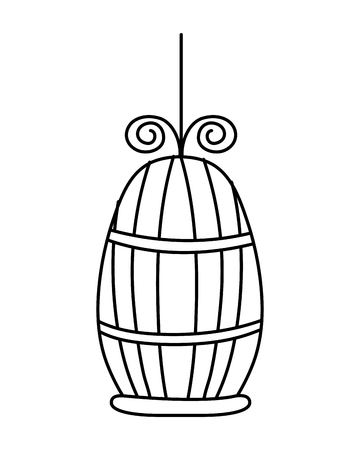 Line metal bird cage object design vector illustration.