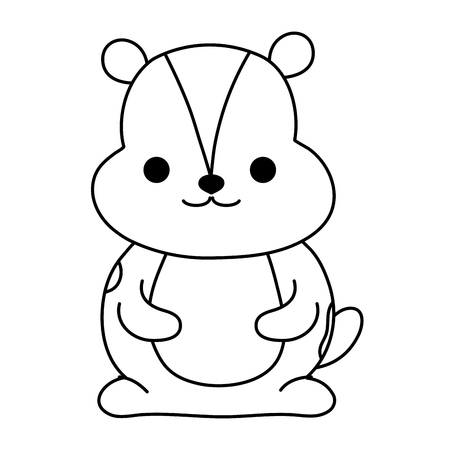 Line beaver wild cute animal character vector illustration.
