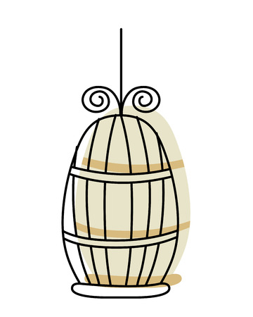 moved color metal bird cage object design vector illustration Illustration