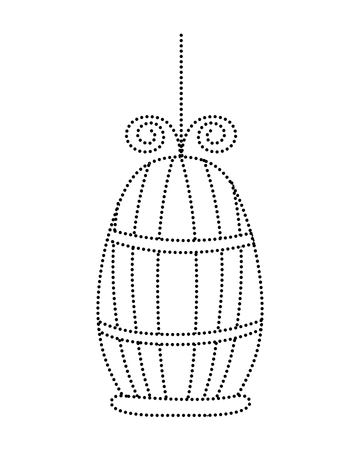 dotted shape metal bird cage object design vector illustration
