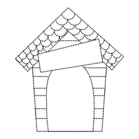 dotted shape wood dog house protection object vector illustration