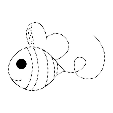 dotted shape bee cute insect animal flying vector illustration Çizim