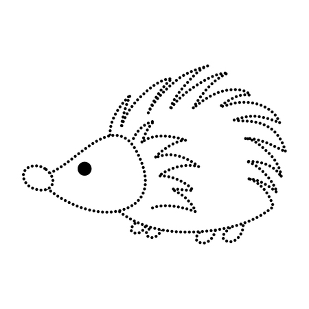 dotted shape porcupine cute wild animal character vector illustration Illustration