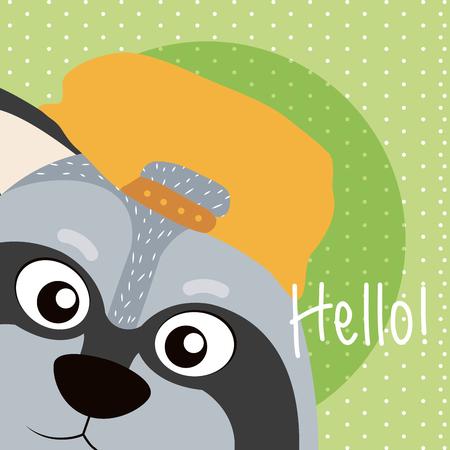 Raccoon Happy day card vector illustration graphic design Illustration