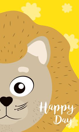 Lion Happy day card vector illustration graphic design