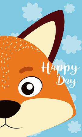 Fox Happy day card vector illustration graphic design