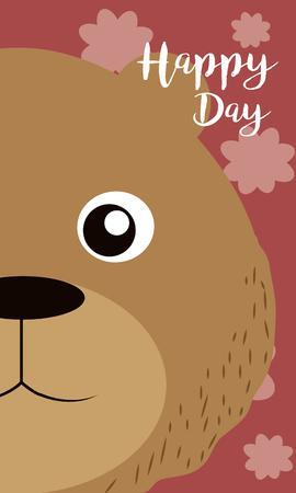 Bear Happy day card vector illustration graphic design