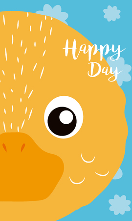 Duck Happy day card vector illustration graphic design