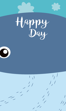 Whale Happy day card vector illustration graphic design
