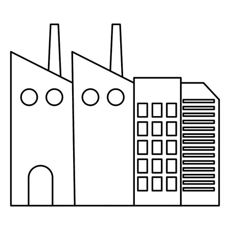 line industrial factory environment air contamination vector illustration Illustration