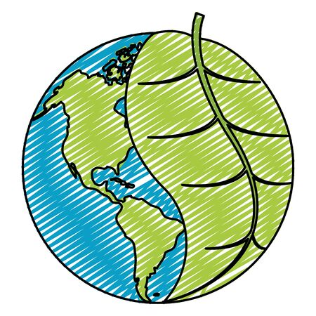 doodle global earth planet with leaf to ecology care vector illustration