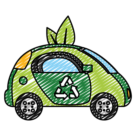 doodle ecology car vehicle technology with leaves vector illustration