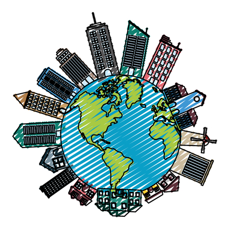 doodle global planet with architecture buildings and houses vector illustration