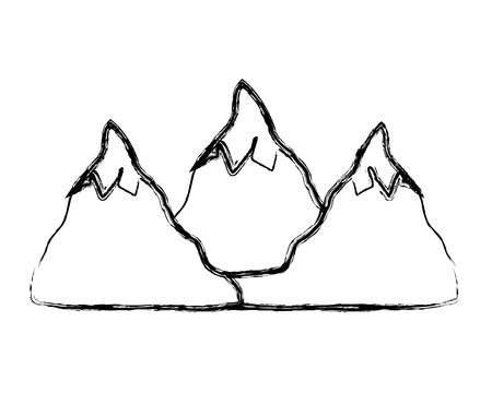 grunge natural snowy mountains to winter weather vector illustration 일러스트