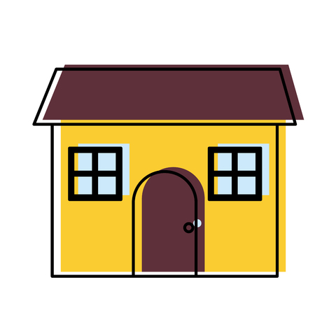 moved color house residence with windows design and door vector illustration Stock Illustratie