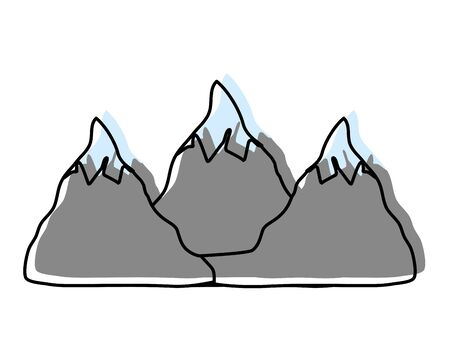 moved color natural snowy mountains to winter weather vector illustration