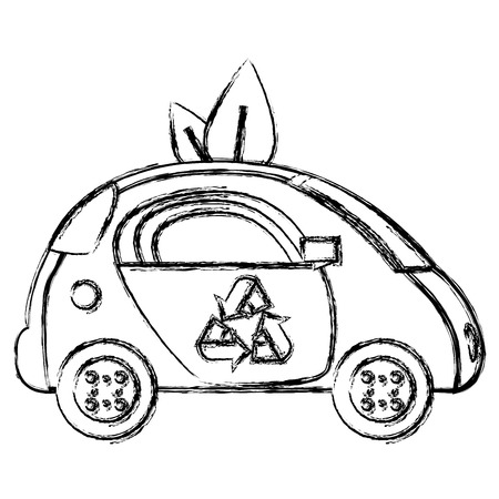 Grunge ecology car vehicle technology with leaves vector illustration.