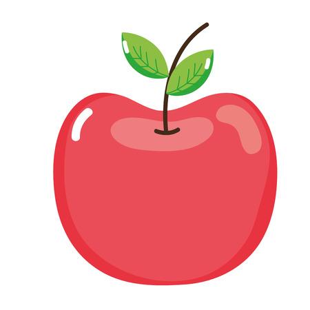 Fresh delicious apple fruit on white backdrop illustration.