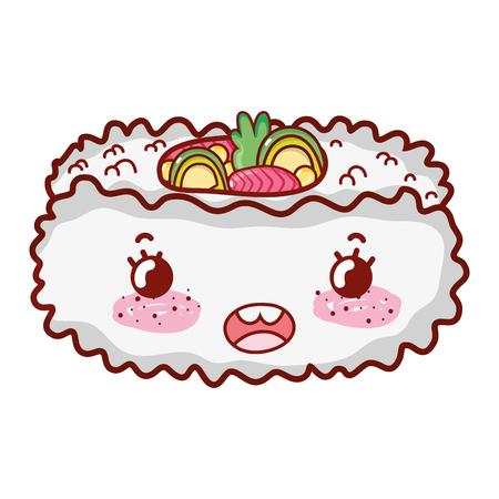 Nigiri sushi cute japanese food vector illustration  イラスト・ベクター素材