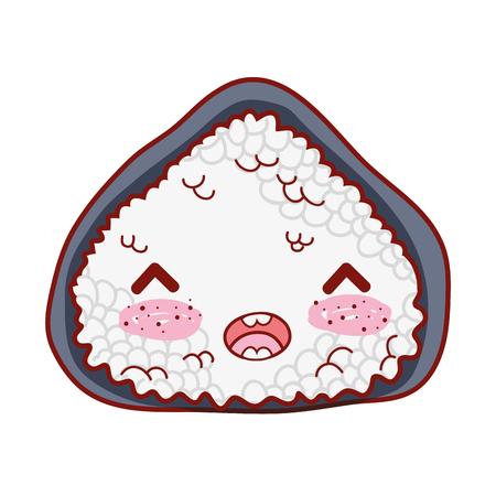 Happy rice roll japanese food vector illustration Illustration
