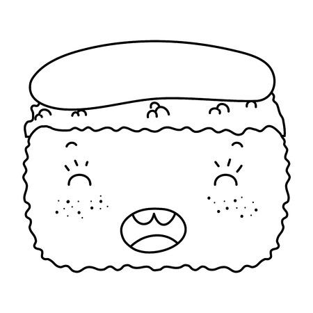 Line kawaii nigiri cute Japanese food vector illustration