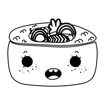 Line kawaii sushi cute Japanese food vector illustration