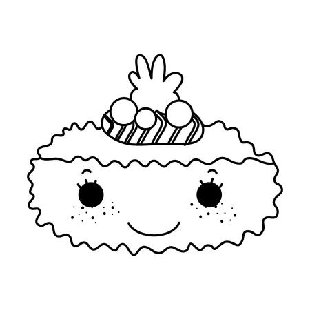 Line kawaii nigiri nice Japanese food vector illustration Vektorové ilustrace