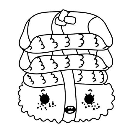 Line kawaii nice sushi Japanese food vector illustration Vektorové ilustrace