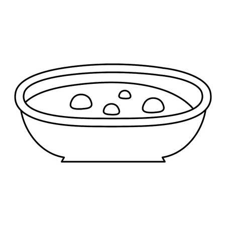 line traditional soup healthy japanese food vector illustration