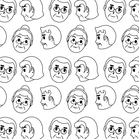 line old woman and man head background vector illustration Ilustracja