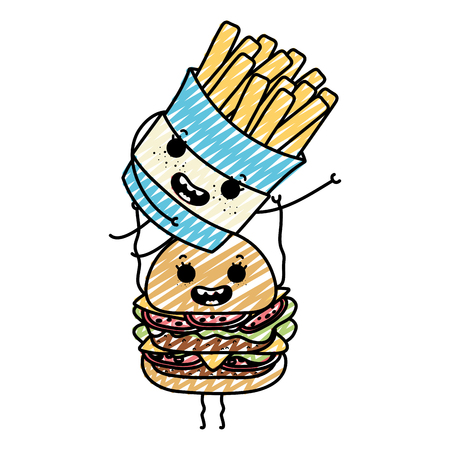 doodle happy fries french with hamburger vector illustration