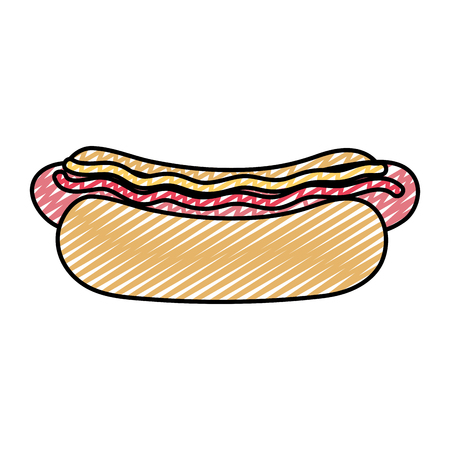 doodle snack hot dog fastfood with sauces vector illustration